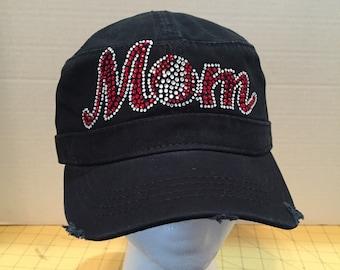 Baseball Mom Rhinestone Embellished Military Style Cotton Hat