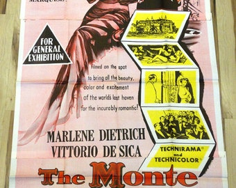"Monte Carlo Story, The.Original 1957 Australian 39""x78"" Theater Movie Poster. Marlene Dietrich&Vittorio De Sica into Riviera Casino Gambling"
