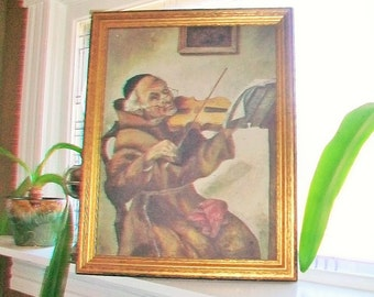Antique Framed Painting 1919 Copy of The Old Master Artist Signed Monk Playing Violin