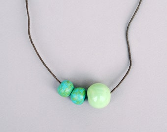 Green Ceramic Necklace, Clay Necklace, Handmade Necklace, Rustic Necklace