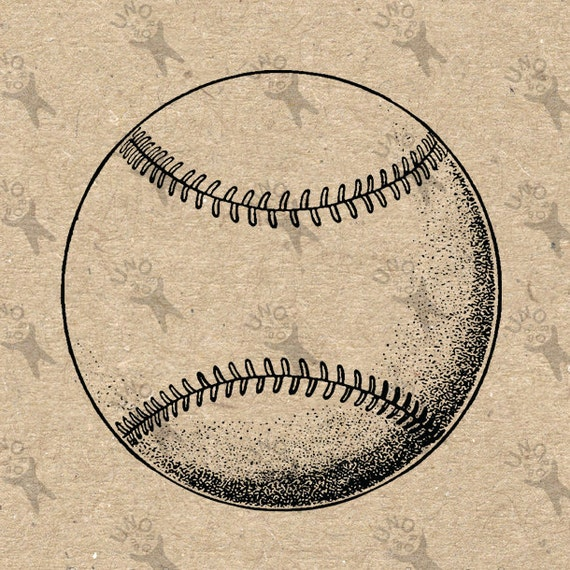 Vintage Baseball Ball black and white image Instant Download