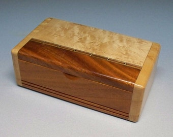 Mahogany & Bird's-eye Maple Inlay Box, Gift Idea, Best Man Gift, Small Wooden Box, Watch Box, Corporate Gift, Small Wooden Box