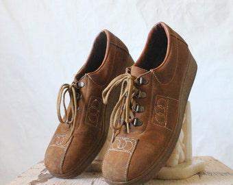 Vintage 70's Caramel Brown Leather Lace Shoes Sz 7 1/2