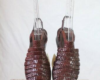 Vintage Chocolate Braid Italian Leather Sandals Sz 8
