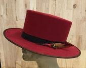 100% beaver fur felt mens flat top hat