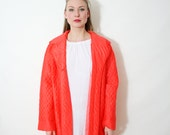 Vintage Bright Orange Oversized Quilted Robe Lounge Wear