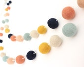 Arizona Garland- Felt Ball Garland- Girl Nursery Decor- Pom Pom Garland- Felt Garland- Tribal nursery Decor- Peach Navy Coral Mint- Baby