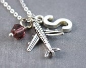 Airplane Necklace - Travel Jewelry -Travel Necklace - Personalized Initial Jewelry - Birthstone Necklace - Travel Pendant - Airplane Pendant