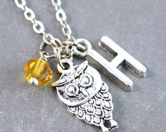 Tiny Owl Necklace - Silver Owl Necklace - Personalized Initial Necklace, Initial Jewelry, Woodland Necklace, Owl Pendant, Bird Necklace