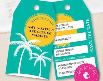 Save The Date Luggage Tags Wedding Invitation Abroad Overseas Printable Digital File