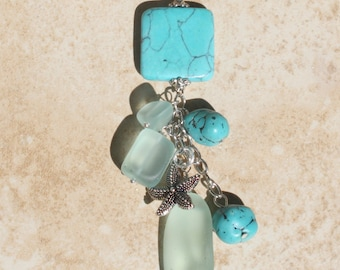 Black Suede Charm Necklace, Sea glass Jewelry, Turquoise, Silver, Starfish Nautical Necklace Gift, Inarajewels
