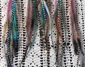 Hippy style feather hair extensions,  feather hair clip in. Custom made