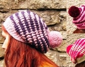 Adult Crochet Hat Pink Oversized Slouchy Beanie Big Striped Chunky Pompom Hat