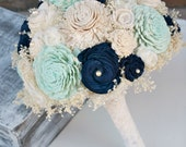 Ready to Ship! Hand Dyed Pastel Mint Green & Navy Everlasting Bride's Bouquet - Sola Wood, Lace Flowers, Baby's Breath - Alternative Bouquet