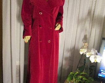 1970's Ladies MAXI Length Double Breast Dark Fucshia Velvet COAT by Brittany Bay-Canada