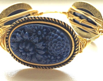Antique Brass and Navy, Carved Flower Pendant, Wire-Wrapped Bangle