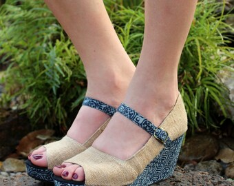 Peep Toe Hemp Womens Mary Janes With Indigo Batik Wedge Heels - Maggie