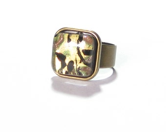 Murano Glass Black Gold Square Ring, Wide Band Ring, Fused Glass Chunky Ring, Venetian Glass Jewelry, Italian Jewelry