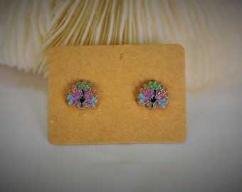 SALES!!! PEACOCK with Silver Stud Earrring ~ 7 mm - Girls / Casual / Cutie