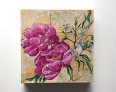 Pink flower painting peony floral wall art home decor - A Bouquet for Grace