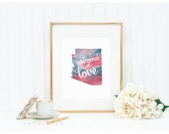 "Arizona Watercolor Art Print - ""Arizona Love"" - Mirabelle Creations"