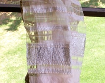Vintage 1970's Spain Shawl Wrap Mantilla, Lovely Filmy, Silver Embroidered with Fringe