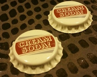 2 Cream soda / Bottle Caps / Altered Art / brown / Mixed Media Supplies / Assemblage /  Repurposed  / found objects / jewelry / pendants