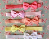Summer Sorbet Bows for Baby Girl - Bow Tie Style Hair Bow Set - 5 Great Colors Available on Headbands or Clips