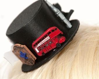 Unique London town mini fascinator black top hat