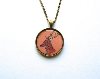 Deer Necklace Cute Necklace Woodland Necklace