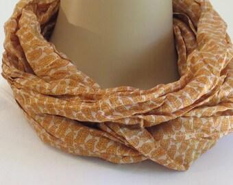 Silk Infinity Scarf, Spring Scarf, Flower Scarf, Neck scarf