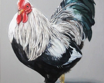 "Original Oil Painting: Rooster Strutting his Stuff ""Iowa Blue"""