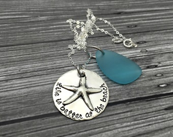Sterling Silver Soldered Beach Life is Better at the Beach Keepsake Starfish Sea Glass Necklace- Hand Stamped Jewelry - Personalized Jewelry