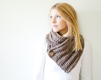 chunky crochet scarf ribbed button cowl scarf - taupe - the OXFORD