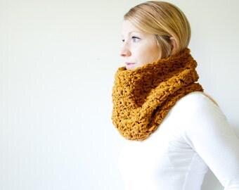 RTS - the MALLORY - Semi chunky Cowl Neckwarmer Scarf - amber - Wool Blend