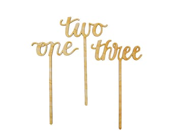 Calligraphy Script Wood Table Numbers or Cake Toppers- Numbers One through Ninety Available