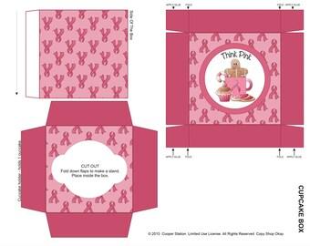 Printable Breast Cancer Awareness Cupcake Box