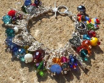 AUTISM MOTHER'S LOVE  Rainbow Autism Mother's Day Charm Bracelet ooak
