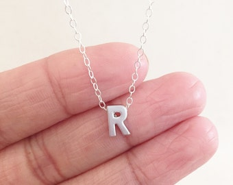 Small Letter R Necklace, Sterling Silver Necklace, Letter R Charm, Initial R Necklace, Birthday gift, Graduation gift, Personalized Necklace