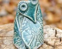 "Ceramic owl sculpture, houseplant owl decor, ""UrZah"", hand built, owl totem, free standing owl art"