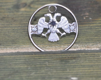 Openheart double eagle. Gemmed coin cut charm 5 russian roubles. 3 gems
