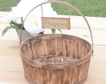 Rustic wedding cards/advice/programs basket- custom your color!