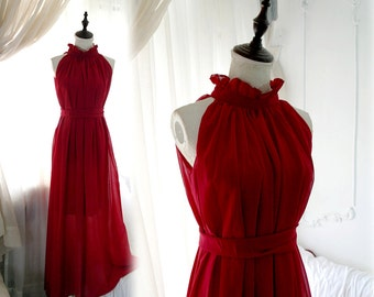 Goddess Ruffle High Collar Deep Red Maxi Long Gown Dress + Sash Bow Bowknot Keyhole Back ,Beach Wedding Beautiful Romantic,Women's