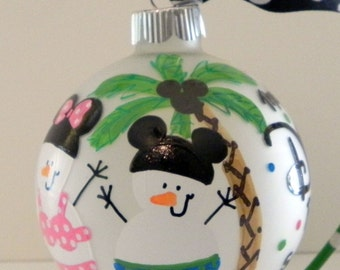 Custom Snowman Ornament, Snowman Family Vacaton Ornament / Disney Ornament, Personalized Family Ornament Gift
