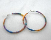 Hoop earrings, multicolor boho earrings, eco earrings, embroidery thread wrapped earrings