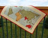 Table Runner, Table topper, quilted table runner, wall hanging, maps, geogpraphy, world map, earth, reversible