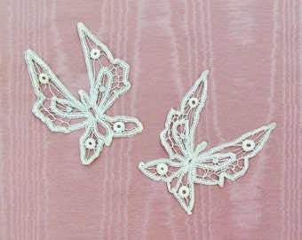Antique lace butterfly appliques, pair of Battenberg lace butterfly motifs