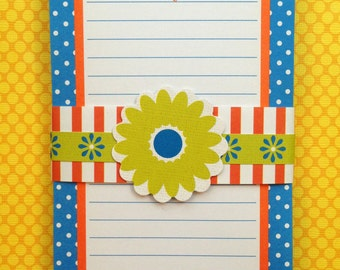 Blue PinDot with Orange Border Personalized Notepad