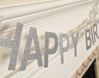 Happy Birthday Banner Silver Glitter 4-inch Letters