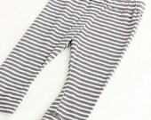Baby Gray & White Striped Leggings, Baby Pant, Boy Legging, Modern Baby Legging, Newborn Outfit, Summer Legging, Capri Legging